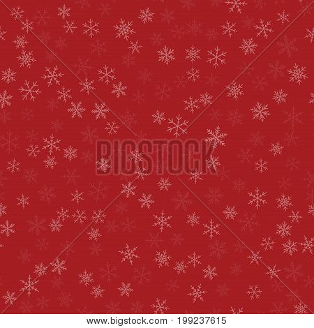 White Snowflakes Seamless Pattern On Red Christmas Background. Chaotic Scattered White Snowflakes. O