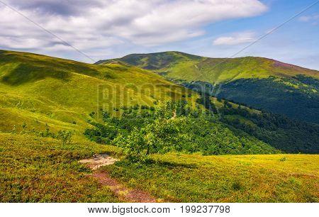 Path On The Edge Of Hillside On Mountain Ridge
