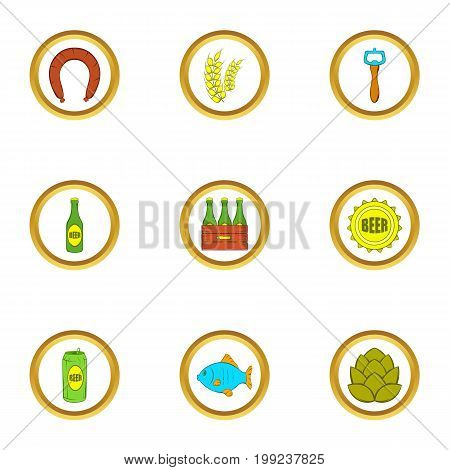 Beer and food icons set. Cartoon set of 9 beer and food vector icons for web isolated on white background