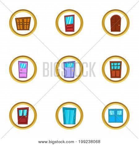 Doorway icons set. Cartoon set of 9 doorway vector icons for web isolated on white background