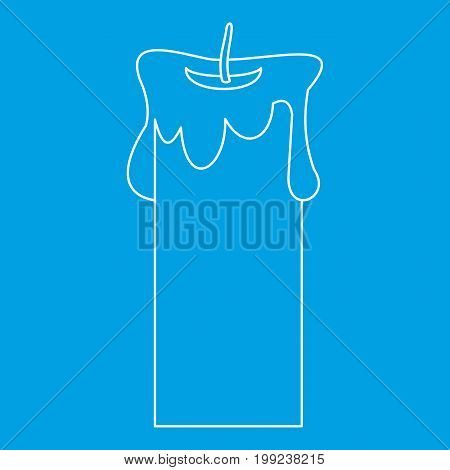 Big candle icon blue outline style isolated vector illustration. Thin line sign