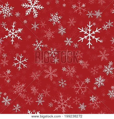 White Snowflakes Seamless Pattern On Red Christmas Background. Chaotic Scattered White Snowflakes. B