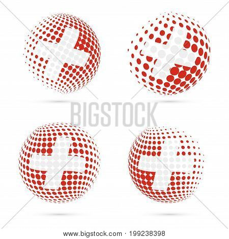 Switzerland Halftone Flag Set Patriotic Vector Design. 3D Halftone Sphere In Switzerland National Fl
