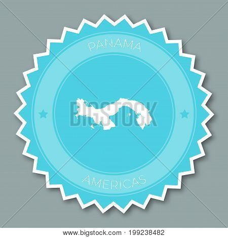 Panama Badge Flat Design. Round Flat Style Sticker Of Trendy Colors With Country Map And Name. Count