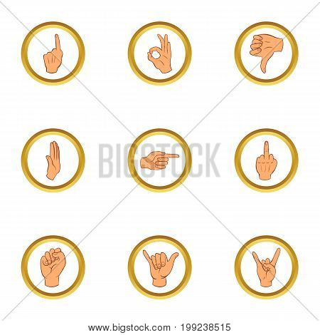 Popular gestures icons set. Cartoon set of 9 popular gestures vector icons for web isolated on white background