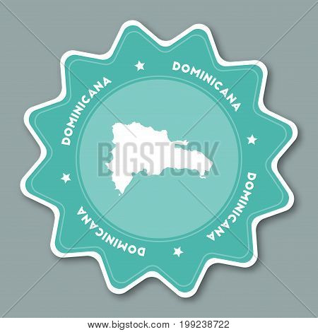 Dominican Republic Map Sticker In Trendy Colors. Star Shaped Travel Sticker With Country Name And Ma