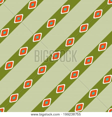 Seamless geometric diagonal pattern vector background with striped lines and convex diamond shapes green orange white aqua