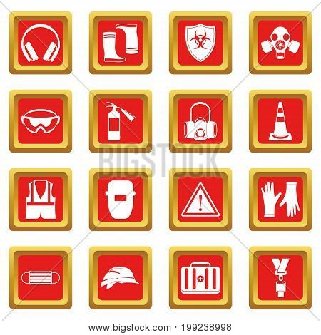 Safety icons set in red color isolated vector illustration for web and any design