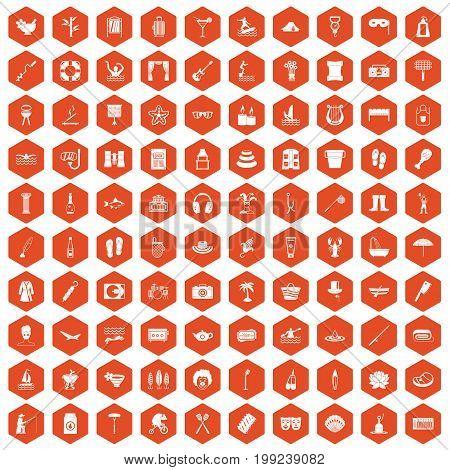 100 recreation icons set in orange hexagon isolated vector illustration
