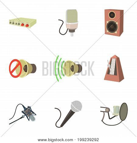 Music studio equipment icons set. Cartoon set of 9 music studio equipment vector icons for web isolated on white background