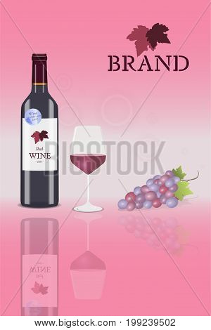 Brand. Bottle of red wine (blush wine) with glass and a bunch of grapes with logo. Price : Best quality.