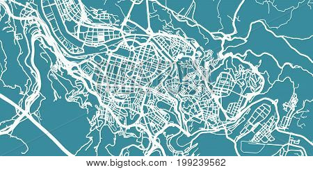 Detailed vector map of Bilbao, scale 1:30 000, Spain