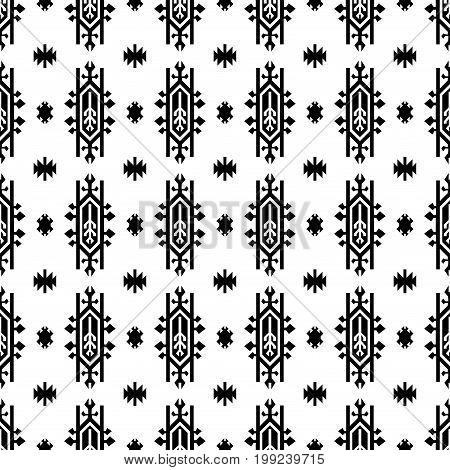 Seamless Indian pattern vector USA Native American type geometric ornaments black and white background design retro vintage bohemian boho style icon