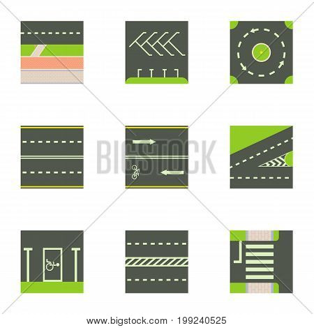 Different road way icons set. Cartoon set of 9 different road way vector icons for web isolated on white background
