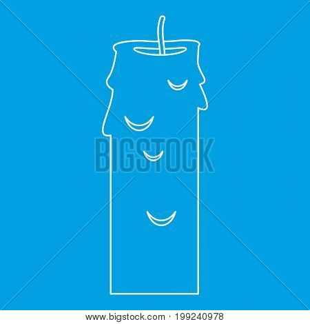 Paraffin candle icon blue outline style isolated vector illustration. Thin line sign