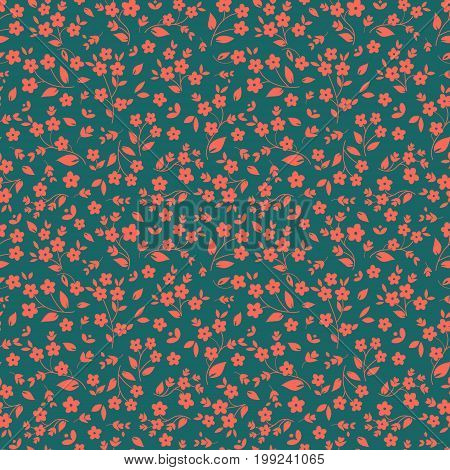 Seamless floral vector pattern orange pinkish small flowers on dark green background ditzy millefleaurs fabric tapestry quilting