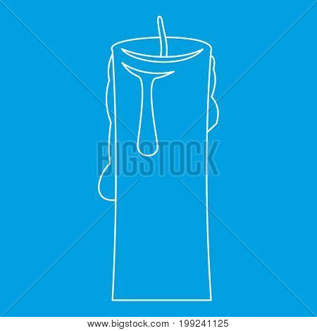 One candle icon blue outline style isolated vector illustration. Thin line sign