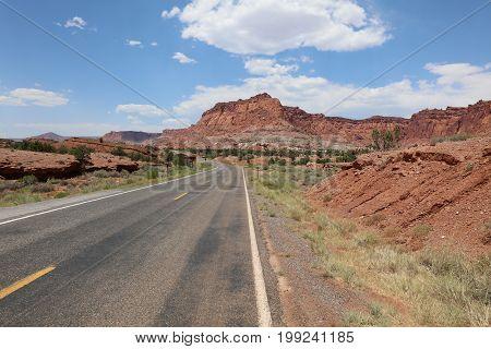 Road through Capitol Reef National Park. Utah. USA