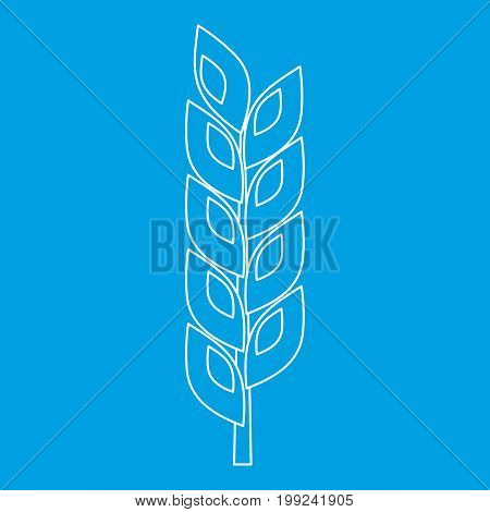 Grain spike icon blue outline style isolated vector illustration. Thin line sign