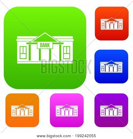Bank building set icon in different colors isolated vector illustration. Premium collection