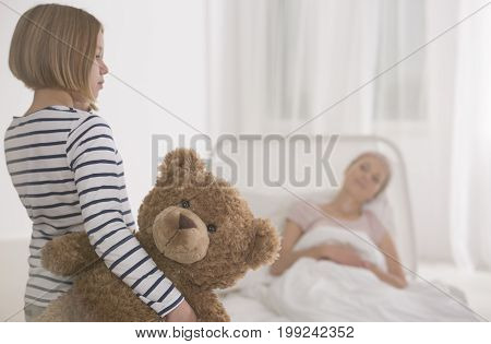 Girl Visiting Seriously Ill Mother