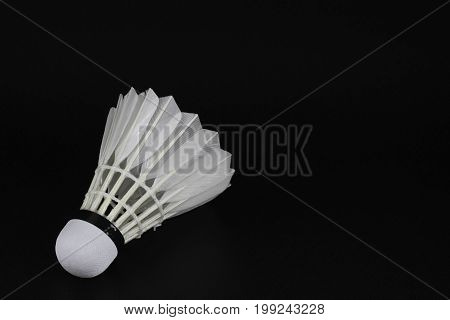 Shuttlecock On Selective Focus Over Black Background