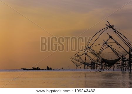Thai style fishing trap in Pak Pra Village Net Fishing Thailand Thailand Shrimp Fishing Phatthalung Thailand.