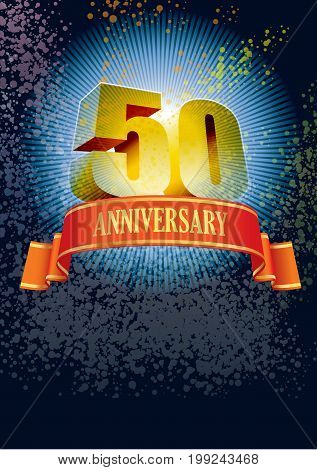 Background with design elements for the poster celebrating fiftieth anniversary