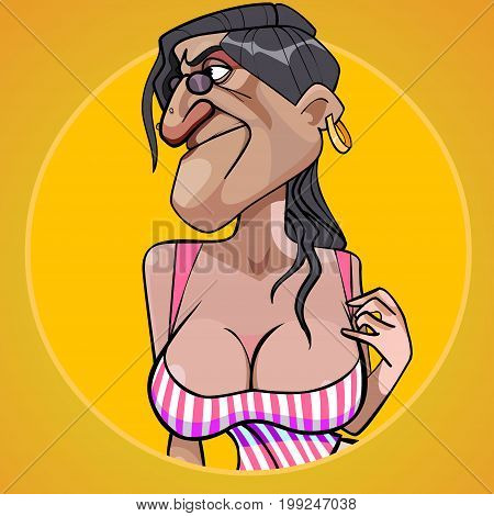 Cartoon scary woman with lush shapes of the chest seducing