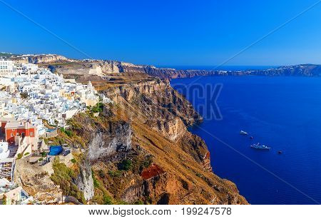 Landscape Santorini Island, Fira, Cyclades, Greece. Views from the high slope