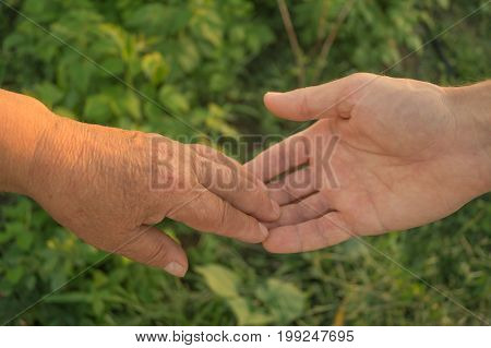 Old and adult person holding hands. Elderly care and respect. Mother and son.