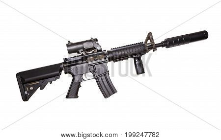 M15A4 Rifle Isolated on White Background. Rifle of the Armed Forces. Assault Rifle.
