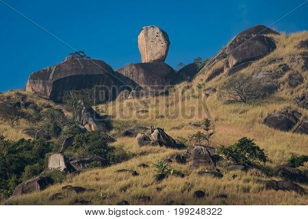 Bone Rock (Pedra do Osso), a Natural Formation of One Rock on the Top of Another, in East Zone of Rio de Janeiro City