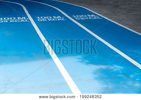 Blue Running track with information text for walking or running.