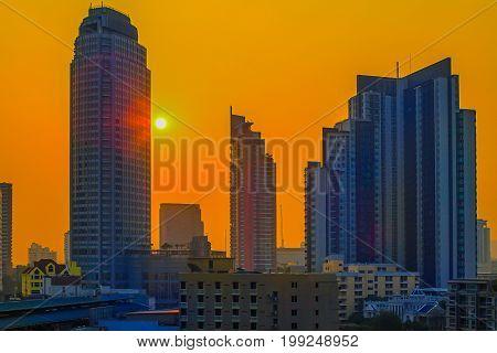 Sunset scene of Bangkok City of Thailand Twilight scene of Bangkok City of Thailand Bangkok City destination of tourist.