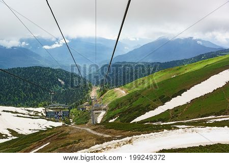 Estosadok, Sochi, Russia - June 10.2017: Tourists Climb The Mountain By Cable Car To The Ski Resort