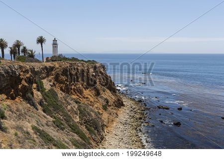 View of Point Vincente lighthouse in Rancho Palos Verdes, California.