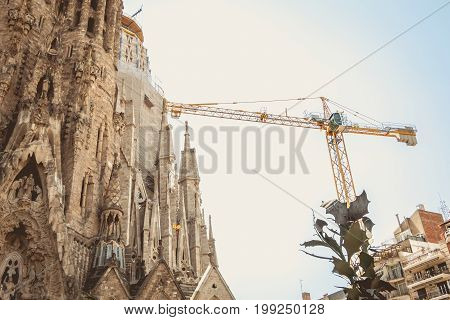 Detail Of Architecture Of The Cathedral Sagrada Familia