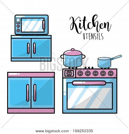 kitchen utensils traditional object element vector illustration