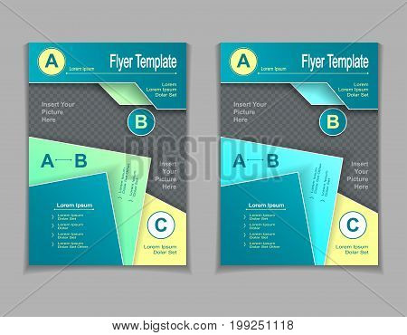 Set template of flyers or brochures or  magazines  covers with cut paper effect  in light  blue  green yellow colors