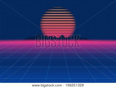 80s Retro Sci-Fi Background. Retro futuristic background synth retro wave. Disco background template. Vector
