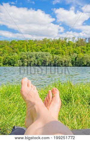 Feet At Lake / River, Meadow / Grass