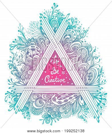 Abstract Floral triangle handmade graphic in Zen-tangle Zen-doodle style  made by trace blue pink colors with  inscription for poster on T-shirt or for album's cover