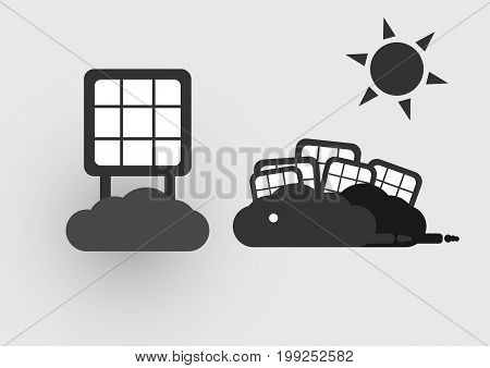 Infographics of solar cell on the clouds with sun . Vector design.
