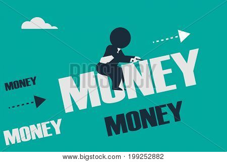 Finance Success. Stickman look like a businessman driving upwards on a money word. Concept business vector illustration.