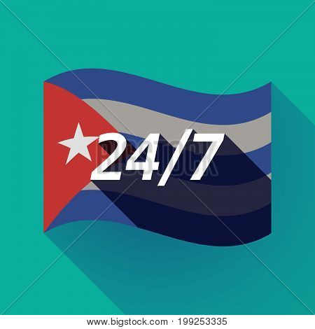Long Shadow Cuba Flag With    The Text 24/7
