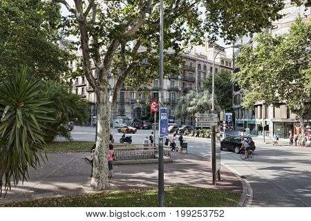 BARCELONA SPAIN - JULY 13 2013: Plaza Urquinaona in Barcelona - one of the stop of Bus touristic route