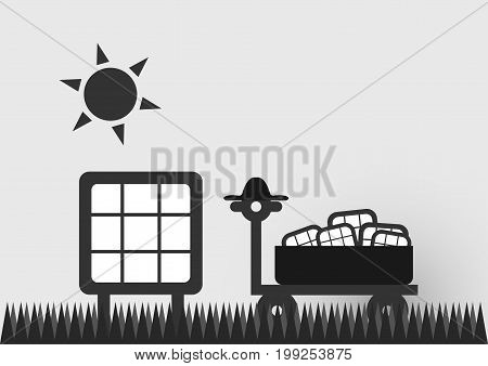 Infographics of solar cell on the road with sun. Vector design.
