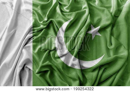 Ruffled waving Pakistan flag national flag close