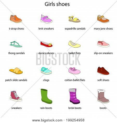 Girls shoes, set, collection of fashion footwear with names. Baby, kid, child, childhood. Vector design isolated illustration. Black outlines, blue background.
